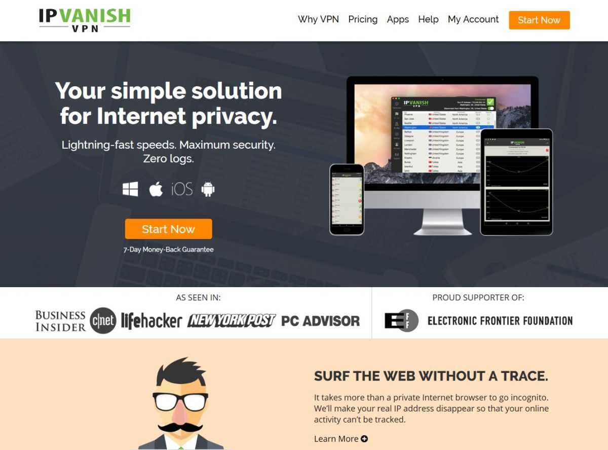 ipvanish.com Screenshot